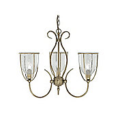 Adjustable Chain Pendant Ceiling Light in Antique Brass with Clear Seeded Glass