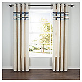 """Linen Lined Eyelet Curtains W112xL137cm (44x54"""") - Teal"""