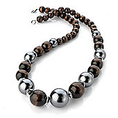 Long Chunky Brown & Metallic Grey Wood Bead Necklace - 60cm Length