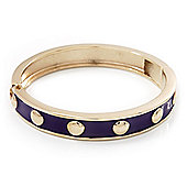 Purple Enamel Gold Studded Hinged Bangle Bracelet - up to 18cm Length
