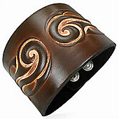 Urban Male Brown Leather Cuff Style Bracelet For A Man 50mm
