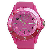 Tresor Paris Watch 018796 - Stainless Steel Bezel - Silicone Strap - Diamond Set Dial - 44mm - Pink