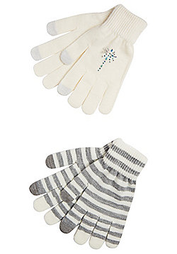 F&F 2 Pair Pack of Striped and Sparkly Touch Screen Gloves - Cream & Grey