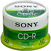 Sony CD-R 700MB 80min 48x Spindle (50 Pack)