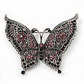 Large Amethyst Crystal 'Butterfly' Brooch In Burn Silver Finish - 7.5cm Length