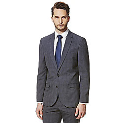 F&F Air Force Blue Checked Tailored Fit Suit Jacket
