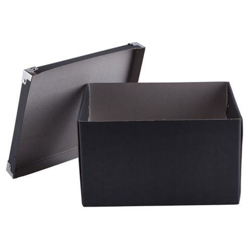 Black Cardboard Storage Box 2pk Medium