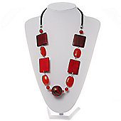 Oval, Square & Round Bead Leather Style Cord Necklace (Red, Orange & Balck)