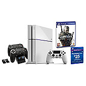 """PS4 White Console, The Witcher 3, £25 PSN Card and Twin Charging Station"""