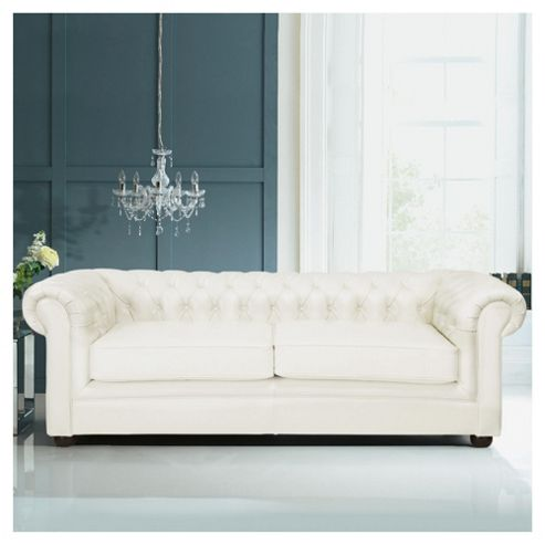 Chesterfield Leather Sofa Bed, White