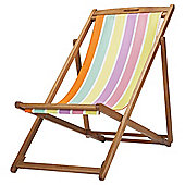 Tesco Bright Stripe Wooden Deckchair