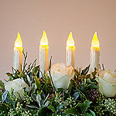 Set of 4 Battery LED Taper Candles with Timer