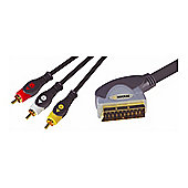 Nikkai Scart To 3 Triple Phono AV Lead Cable Gold 1.5M