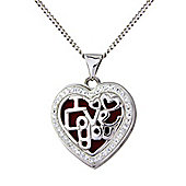 "Sterling Silver Crystal Set Locket Pendant with Chain Message - ""I Love You"