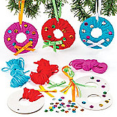 Christmas Yarn Wreath Decoration Kits (Pack of 6)
