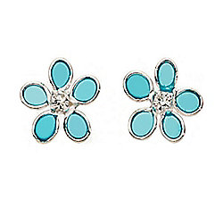 Sterling Silver and Blue Resin Flower Earrings