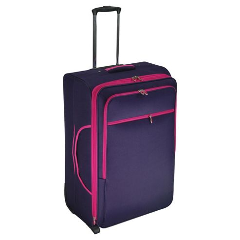 buy tesco 2 wheel large purple pink suitcase from our. Black Bedroom Furniture Sets. Home Design Ideas