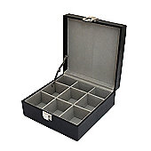 Men's Black Leather 9 Place Cufflink Box