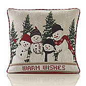 Christmas Snowman Tapestry Cushion - 46x46cm