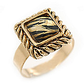 Vintage Square Animal Print Resin Ring In Burnt Gold - 13mm Width - Adjustable - Size 8/9