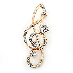 Gold Plated Diamante 'Treble Clef' Brooch - 55mm Length