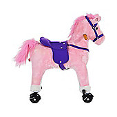 Homcom Wooden Action Pony Wheeled Walking Horse Riding Baby Plush Ride on Animal Kids Gift w/ Sound (Pink)