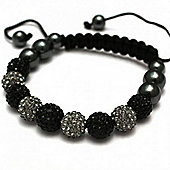 Black and Grey Crystal Unisex Fashion Bracelet SHAMBRAC-64
