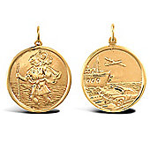 Jewelco London 9ct Solid Gold double sided St Christopher Medallion pendant