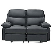 Cordova Leather Small Recliner Sofa Black