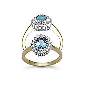 Jewelco London 9 Carat Yellow Gold 23pts Diamond & Blue Topaz Ring