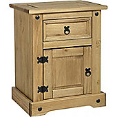 Corona Mexican 1 Drawer 1 Door Bedside Cabinet Distressed Waxed Pine