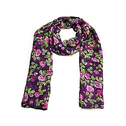 Purple Ditsy Cottage Garden Summer Scarf