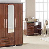 Ideal Furniture New York Triple Wardrobe with Two Drawers and Mirror - Gloss Black