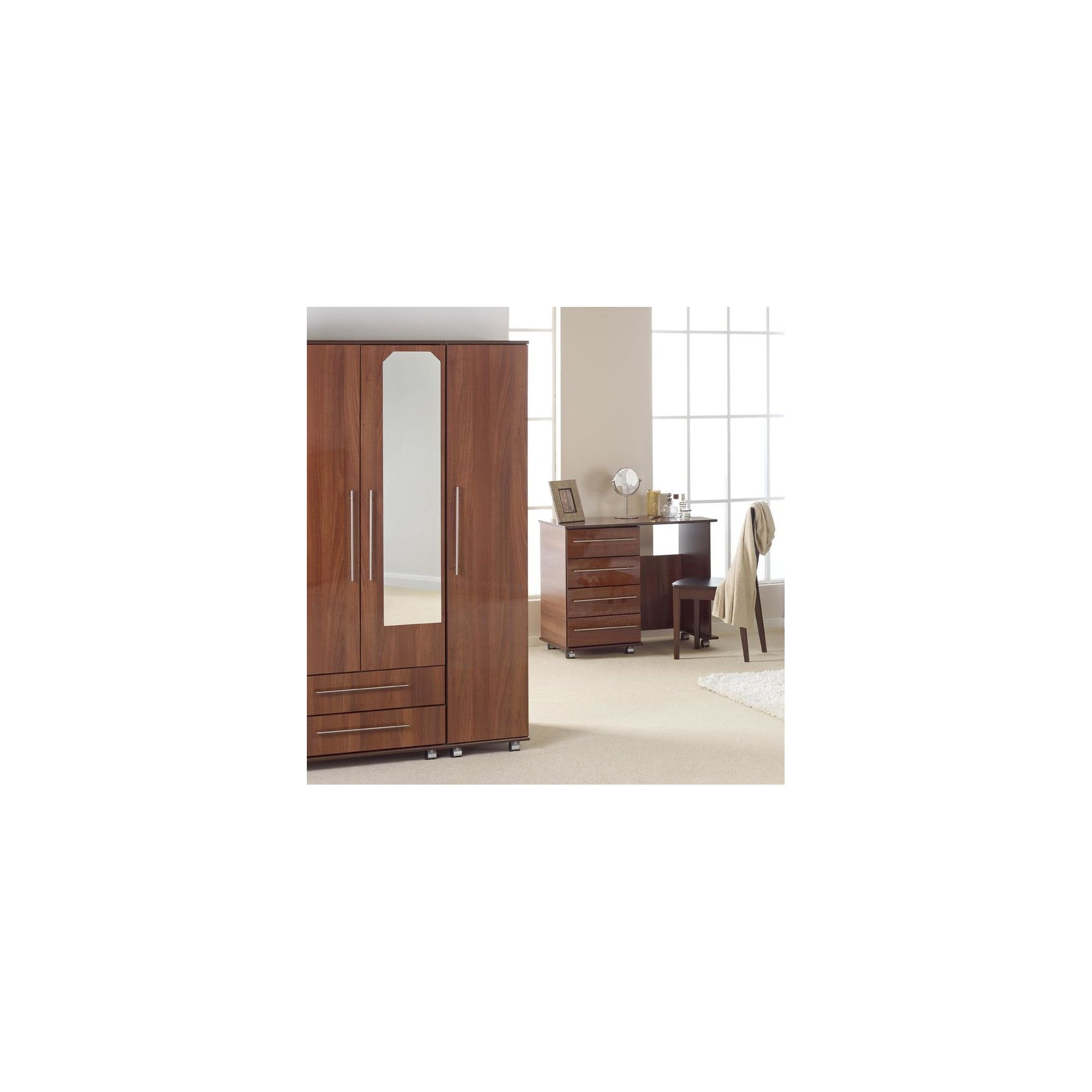 Ideal Furniture New York Triple Wardrobe with Two Drawers and Mirror - Gloss Black at Tesco Direct