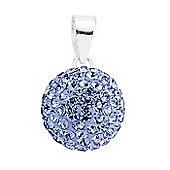 Jewelco London Rhodium-Coated Sterling Silver Blue Crystal Shamballa Pendant