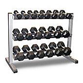 Body-Solid 3 Tier Rack & Bodypower 1-10Kg Rubber Hex Dumbbell Set