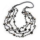 Long Multistrand Black Shell & Pearl Necklace - 96cm Length