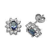 Jewelco London 18 Carat White Gold Diamond-52pts Sapphire 1.65ct Diamond Earrings