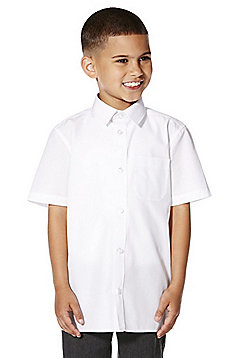 F&F School 2 Pack of Boys Easy Iron Short Sleeve Plus Fit Shirts - White