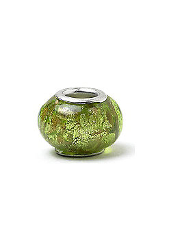 Green Glass Slide On Charm Bead