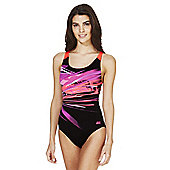 Zoggs Graphic Print Open Back Swimsuit - Black