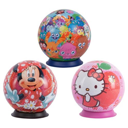 Girls Puzzle Ball Assorted Minnie/Moshi Monsters/Hello Kitty 72 Piece