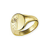 Jewelco London 9ct Yellow Gold - Half Engraved Oxford Stamped Signet Ring - Size X