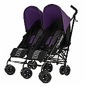 Obaby Apollo Black & Grey Twin Stroller - Purple