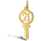 Jewelco London 9ct Solid Gold 21 Key Pendant,a perfect gift for that special milestone birthday!
