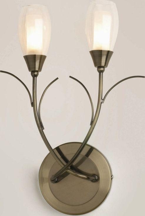 The Lighting & Interiors Group Iris Two Light Wall Bracket - Glass - Antique Brass