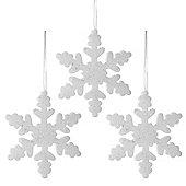 Set of Three 20cm White Glitter Foam Christmas Snowflake Decorations