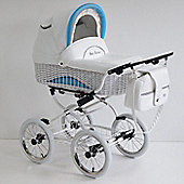 Scarlett Retro Baby 3in1 Travel System -Blue - White Wicker