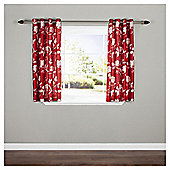 "Silhouette Floral Lined Eyelet Curtains W229xL229cm (90x90"") - Red"
