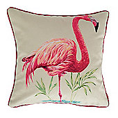 McAlister Flamingo Pink 43cm x 43cm Printed Velvet Cushion Cover